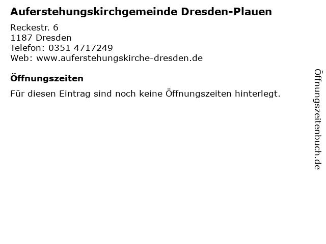Auferstehungskirchgemeinde Dresden-Plauen in Dresden: Adresse und Öffnungszeiten
