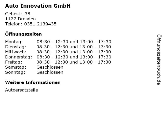 Auto Innovation GmbH in Dresden: Adresse und Öffnungszeiten