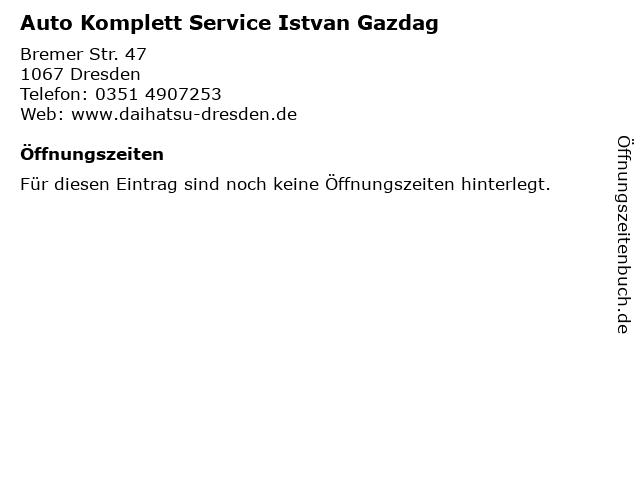 Auto Komplett Service Istvan Gazdag in Dresden: Adresse und Öffnungszeiten