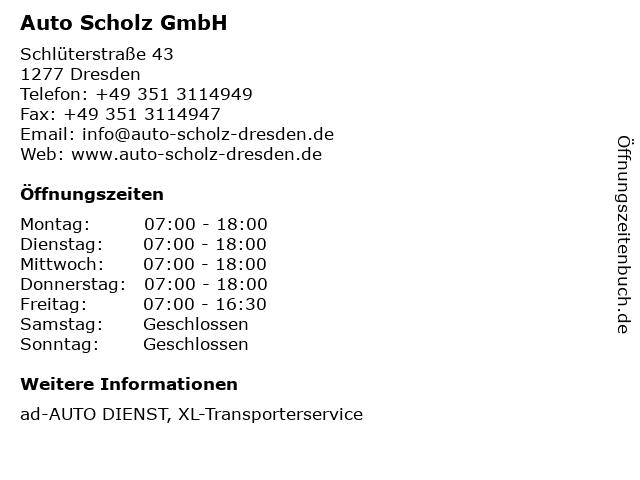 Auto Scholz GmbH in Dresden: Adresse und Öffnungszeiten