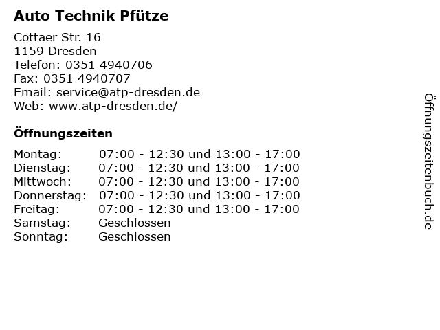 Auto Technik Pfütze in Dresden: Adresse und Öffnungszeiten