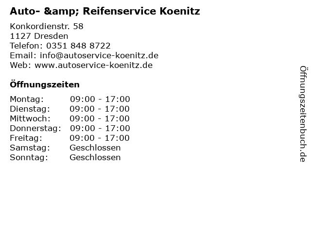 Auto- & Reifenservice Koenitz in Dresden: Adresse und Öffnungszeiten