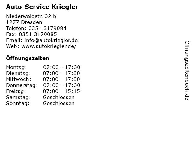 Auto-Service Kriegler in Dresden: Adresse und Öffnungszeiten