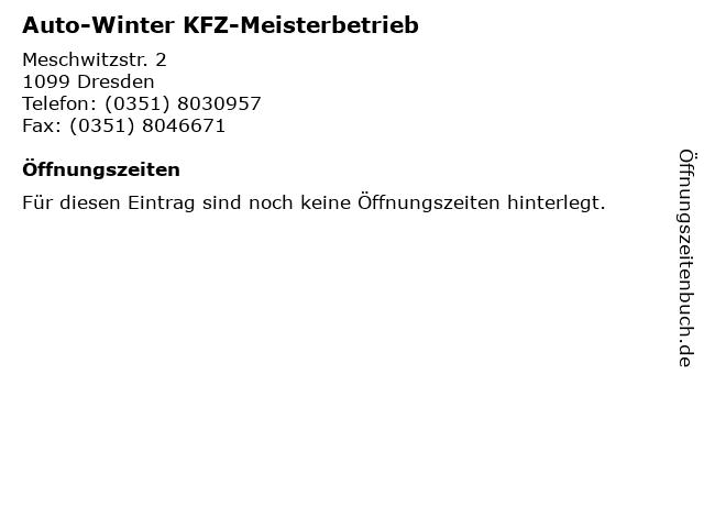 Auto-Winter KFZ-Meisterbetrieb in Dresden: Adresse und Öffnungszeiten