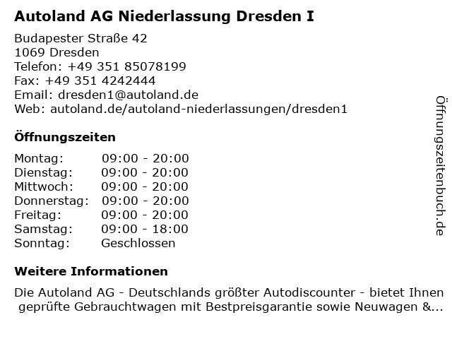 Autoland AG Niederlassung Dresden I in Dresden: Adresse und Öffnungszeiten