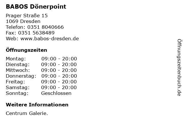 BABOS Dönerpoint in Dresden: Adresse und Öffnungszeiten