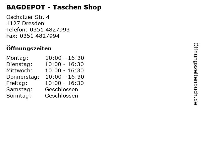 BAGDEPOT - Taschen Shop in Dresden: Adresse und Öffnungszeiten