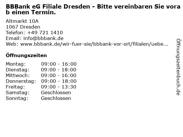 BBBank eG Filiale Dresden in Dresden: Adresse und Öffnungszeiten