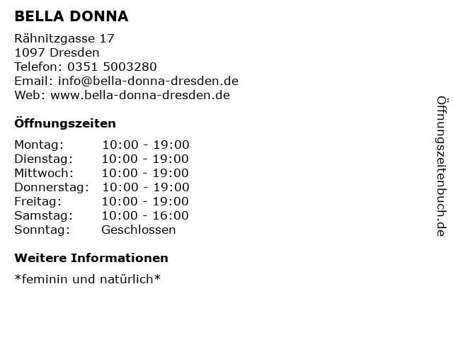 BELLA DONNA in Dresden: Adresse und Öffnungszeiten