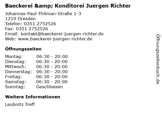 Baeckerei & Konditorei Juergen Richter in Dresden: Adresse und Öffnungszeiten