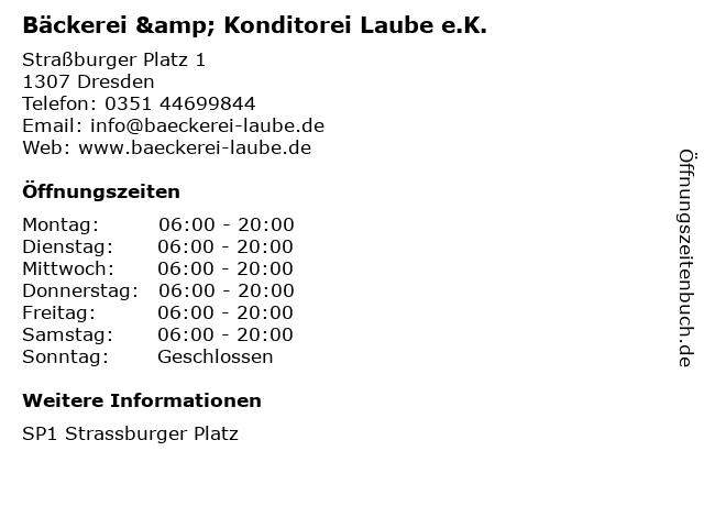 Bäckerei & Konditorei Laube e.K. in Dresden: Adresse und Öffnungszeiten