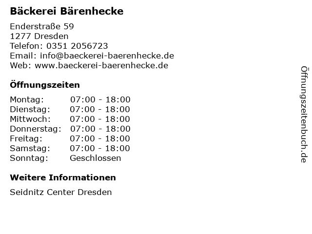 Bäckerei Bärenhecke in Dresden: Adresse und Öffnungszeiten