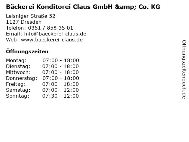 Bäckerei Konditorei Claus GmbH & Co. KG in Dresden: Adresse und Öffnungszeiten