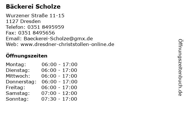 Bäckerei Scholze in Dresden: Adresse und Öffnungszeiten