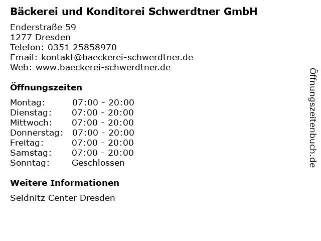 Bäckerei und Konditorei Schwerdtner GmbH in Dresden: Adresse und Öffnungszeiten