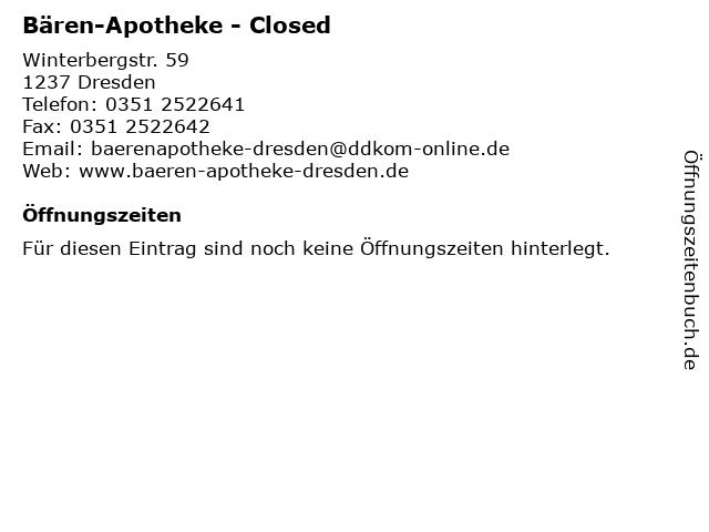 Bären-Apotheke in Dresden: Adresse und Öffnungszeiten