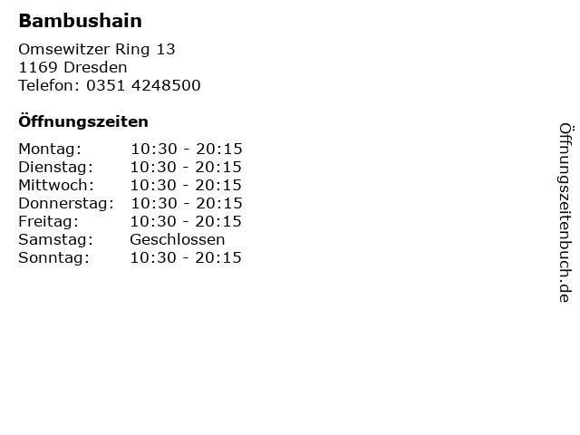 ᐅ Offnungszeiten Bambushain Omsewitzer Ring 13 In Dresden