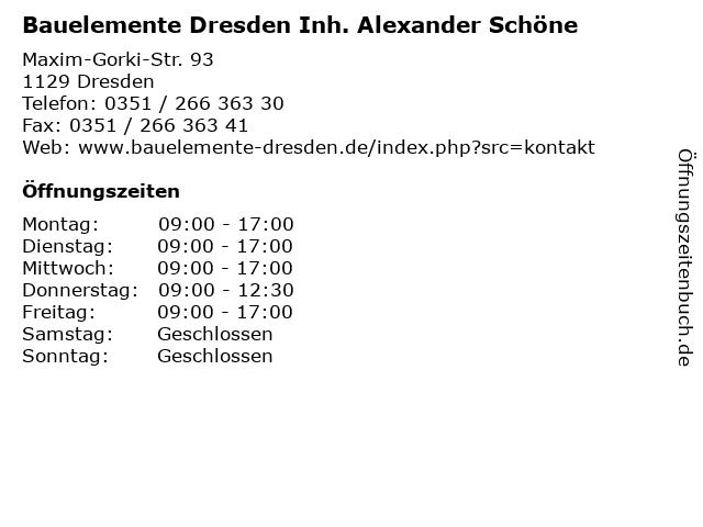 Bauelemente Dresden Inh. Alexander Schöne in Dresden: Adresse und Öffnungszeiten