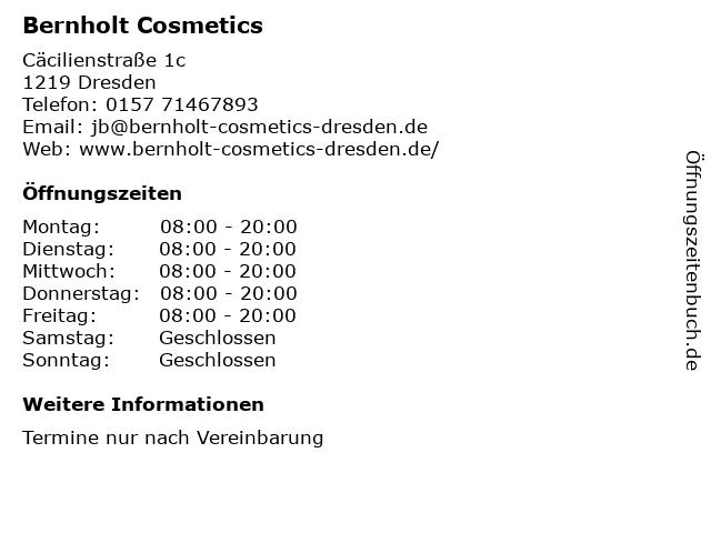 Bernholt Cosmetics in Dresden: Adresse und Öffnungszeiten