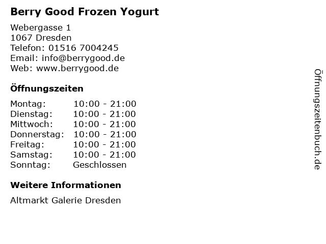 Berry Good Frozen Yogurt in Dresden: Adresse und Öffnungszeiten