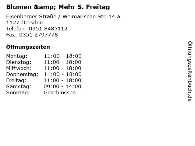 Blumen & Mehr S. Freitag in Dresden: Adresse und Öffnungszeiten