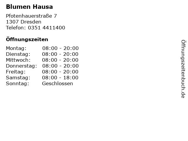 Blumen Hausa in Dresden: Adresse und Öffnungszeiten