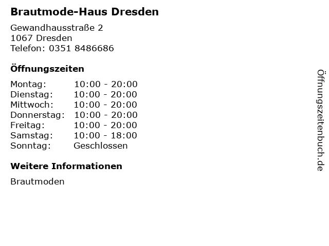 ᐅ Offnungszeiten Brautmode Haus Dresden Gewandhausstrasse 2 In Dresden