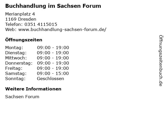 Buchhandlung im Sachsen Forum in Dresden: Adresse und Öffnungszeiten