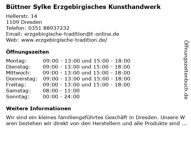 Büttner Sylke Erzgebirgisches Kunsthandwerk in Dresden: Adresse und Öffnungszeiten