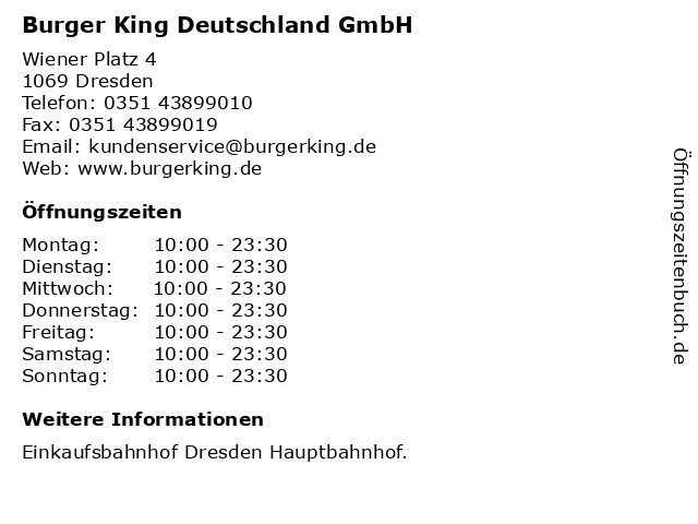 ᐅ öffnungszeiten Burger King Deutschland Gmbh Wiener Platz 4 In
