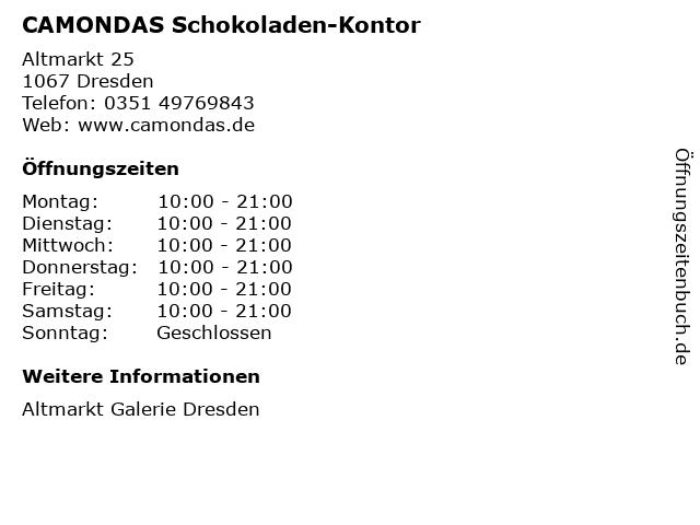 CAMONDAS Schokoladen-Kontor in Dresden: Adresse und Öffnungszeiten