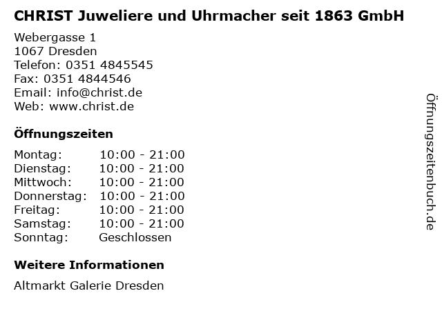 CHRIST Juweliere und Uhrmacher seit 1863 GmbH in Dresden: Adresse und Öffnungszeiten