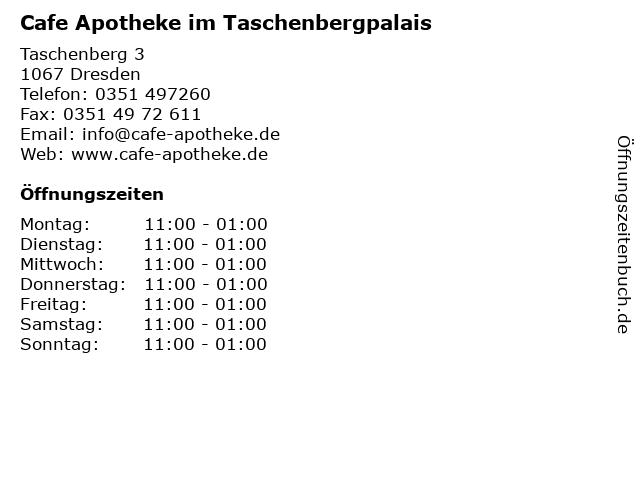 Cafe Apotheke im Taschenbergpalais in Dresden: Adresse und Öffnungszeiten