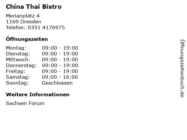 China Thai Bistro in Dresden: Adresse und Öffnungszeiten