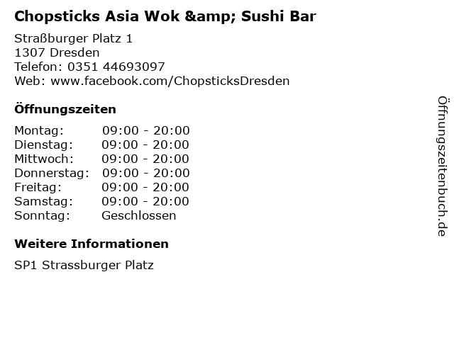 Chopsticks Asia Wok & Sushi Bar in Dresden: Adresse und Öffnungszeiten