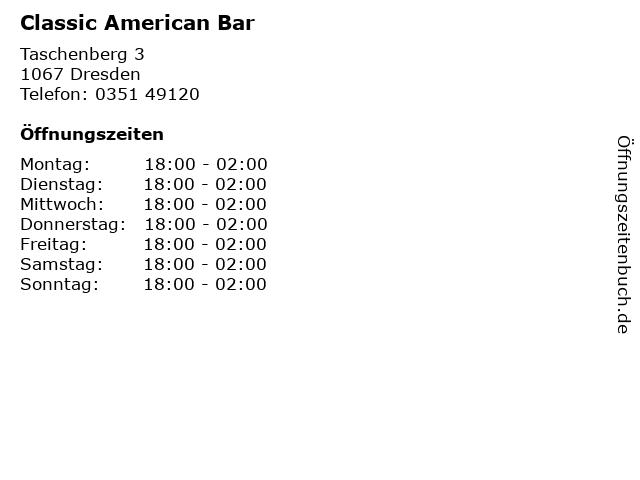 Classic American Bar in Dresden: Adresse und Öffnungszeiten