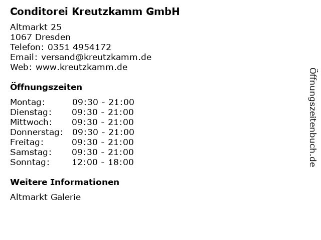 Conditorei Kreutzkamm GmbH in Dresden: Adresse und Öffnungszeiten