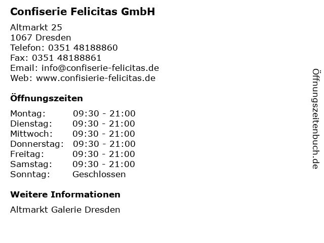 Confiserie Felicitas GmbH in Dresden: Adresse und Öffnungszeiten