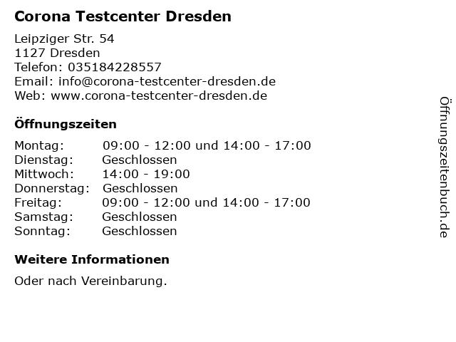 Corona Testcenter Dresden in Dresden: Adresse und Öffnungszeiten