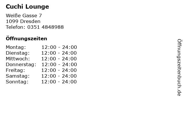Cuchi Lounge in Dresden: Adresse und Öffnungszeiten