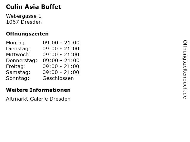 Culin Asia Buffet in Dresden: Adresse und Öffnungszeiten