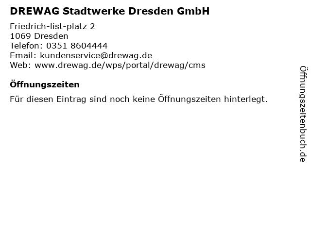 DREWAG Stadtwerke Dresden GmbH in Dresden: Adresse und Öffnungszeiten