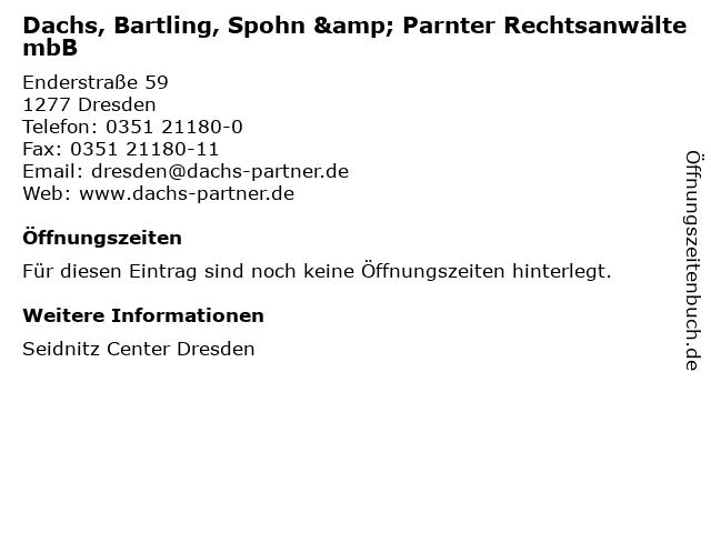 Dachs, Bartling, Spohn & Parnter Rechtsanwälte mbB in Dresden: Adresse und Öffnungszeiten