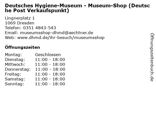 Deutsches Hygiene-Museum - Museum-Shop (Deutsche Post Verkaufspunkt) in Dresden: Adresse und Öffnungszeiten