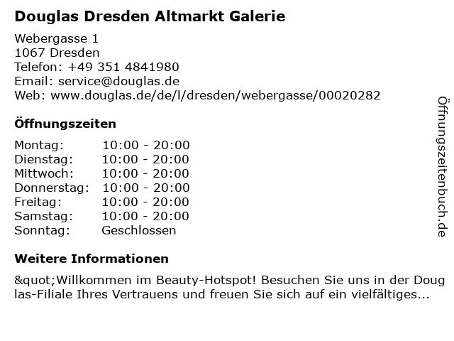 Parfümerie Douglas Dresden in Dresden: Adresse und Öffnungszeiten