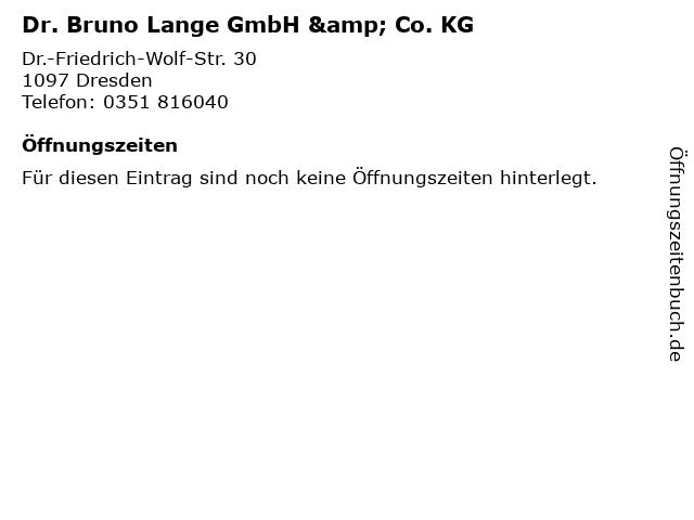 Dr. Bruno Lange GmbH & Co. KG in Dresden: Adresse und Öffnungszeiten