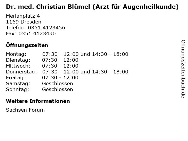 Dr. med. Christian Blümel (Arzt für Augenheilkunde) in Dresden: Adresse und Öffnungszeiten