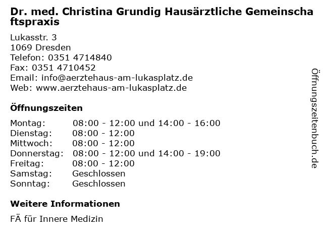 Dr. med. Christina Grundig in Dresden: Adresse und Öffnungszeiten