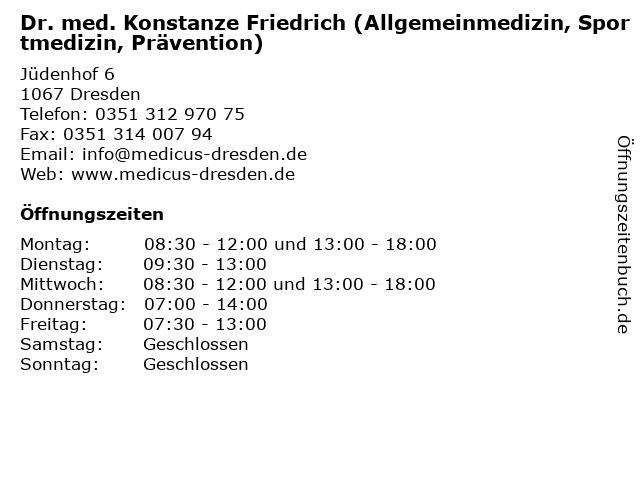 Dr. med. Konstanze Friedrich (Allgemeinmedizin,Sportmedizin) in Dresden: Adresse und Öffnungszeiten