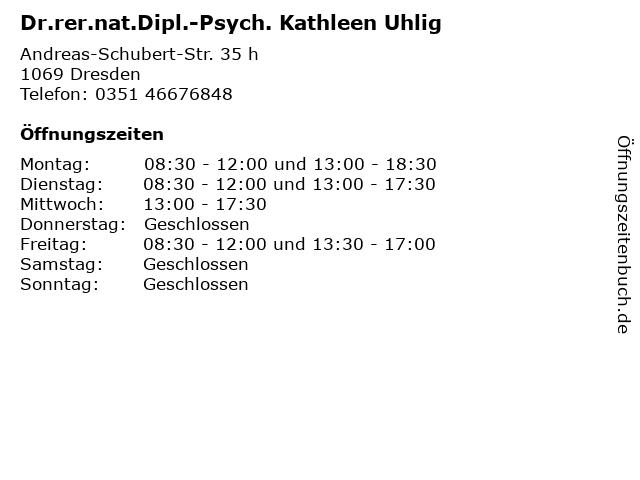 Dr.rer.nat.Dipl.-Psych. Kathleen Uhlig in Dresden: Adresse und Öffnungszeiten